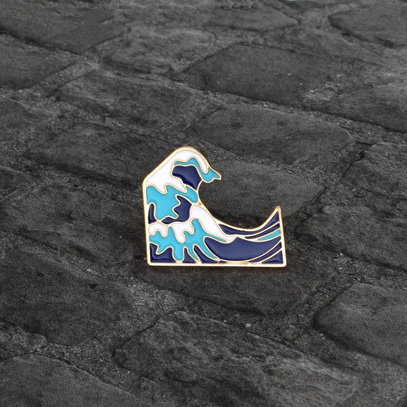 Крутая летняя Праздничная морская бижутерия синяя морская волна брошь для мужчин и женщин рюкзак для одежды сумка аксессуары заколки для п...