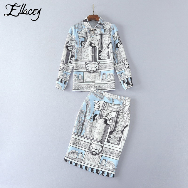 Ellacey 2017 Retro High-end 2 Piece Set Women Full Sleeve Abstract Cat Printed Blouse Midi Skirt Suit Lady Two Piece Outfit