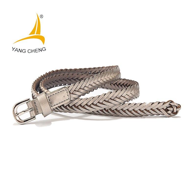 [CNYANGCHENG] thinny clothing belts for women blue women dress belts brass buckle elegant belts stitching strap colorful women