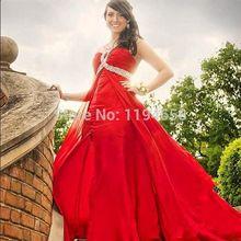 Red Sexy Halter Pailletten Abendkleider Kristall Bodenlangen A-linie Chiffon Abendkleid Vestidos Formales New Fashion Party 2014