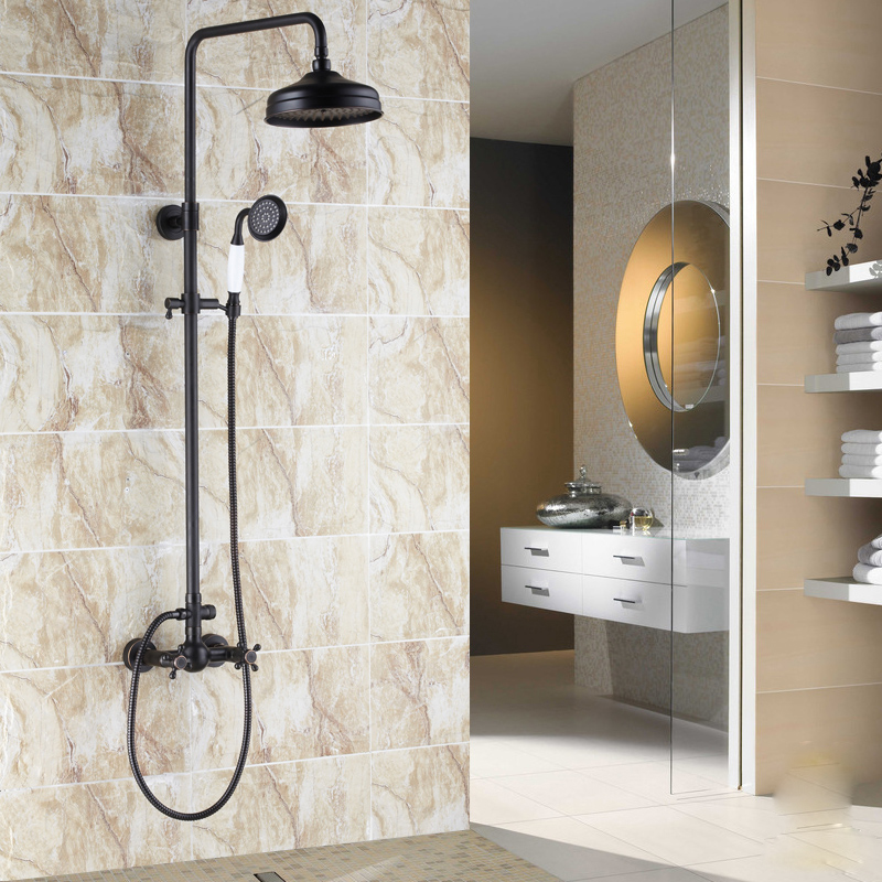 Classic Oil Rubbed Bronze Finish Bath & Shower Faucet Mixer Tap With Hand Shower With Slide Bar