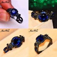 Junxin boho feminino flor estrela anéis para as mulheres preto ouro cheio azul real vermelho rosa roxo zircão pedra anel de casamento jóias