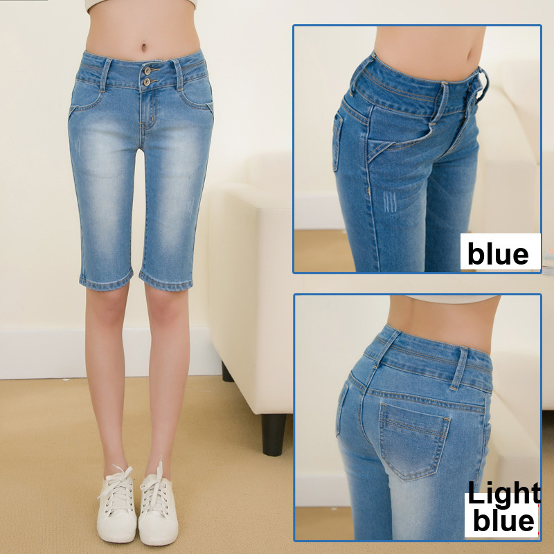 cf8472edf54e New Summer knee length Denim shorts jeans woman Cotton skinny jeans women's  jean pants woman