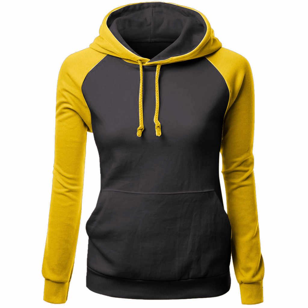 Muqgew Kpop Kemeja Wanita Harajuku Pocket Sweatshirt Warna Murni Streetwear Hooded Pullover Moletom Feminino Inverno Толстовка