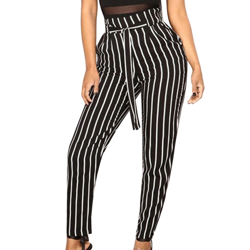 NIBESSER Skinny Pants Women Casual Striped High Waist Streetwear Pencil Pants Fashion Lace Up Stretch Trousers Female Sweatpants