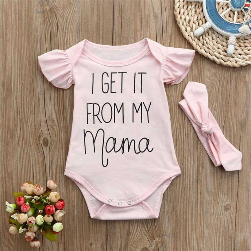 Zestaw berbeć dziewczyny lato odzież list ubrania dla dzieci niemowląt kombinezon Romper + z pałąkiem na głowę stroje 2018MAR22