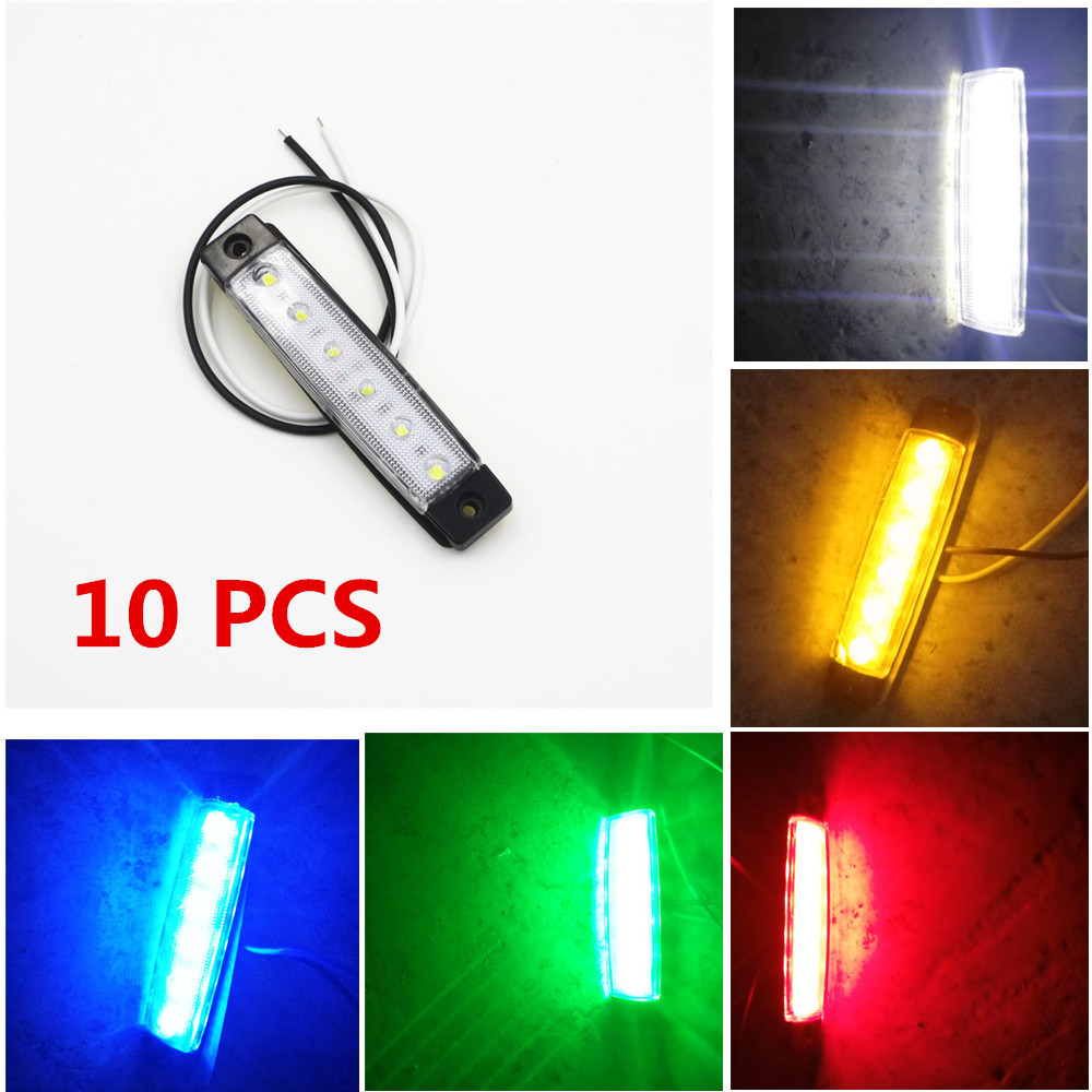 CYAN SOIL BAY 10pcs 6LED Red White Green Blue Yellow Amber 6 LED Clearence Truck Bus Trailer Side Marker Indicators Light Lamp cyan soil bay car auto t10 25w 30 led smd 4014 lamp parking reverse backup light w16w fog bulb ice blue red amber yellow white