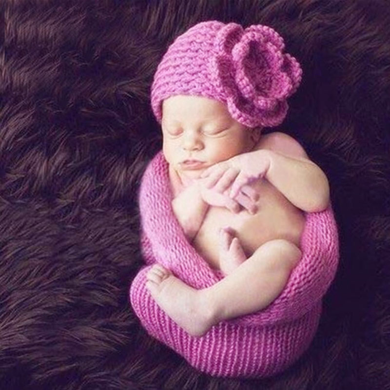 Newborn Photography Props Baby Crochet Costume Floral Beanie Hat Infant Cap Hand Knit Cocoon Romper Purple A105 Girl's Outfits
