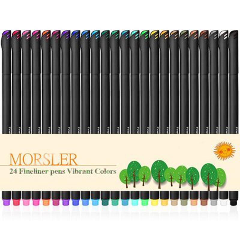 24 Colors Fine Liner Pen Set Art Marker Drawing Colorful Liquid-Ink Pens Creative Painting Pens Stationery School Supplies Hook