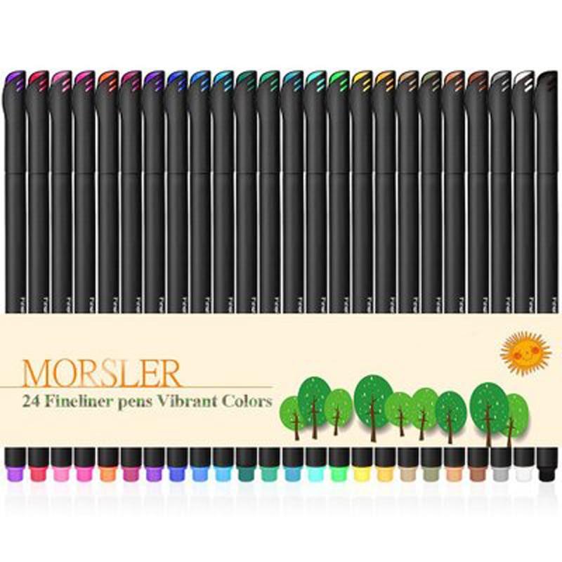 Набор ручек с тонким вкладышем, 24 цвета, рисование маркером, цветные фломастеры с жидкими чернилами, креативные ручки для рисования, канцеля...