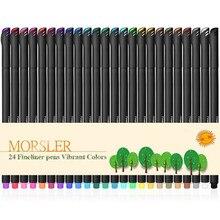24 cores fino forro caneta conjunto marcador de arte desenho colorido líquido-tinta canetas de pintura criativa artigos de papelaria material escolar gancho