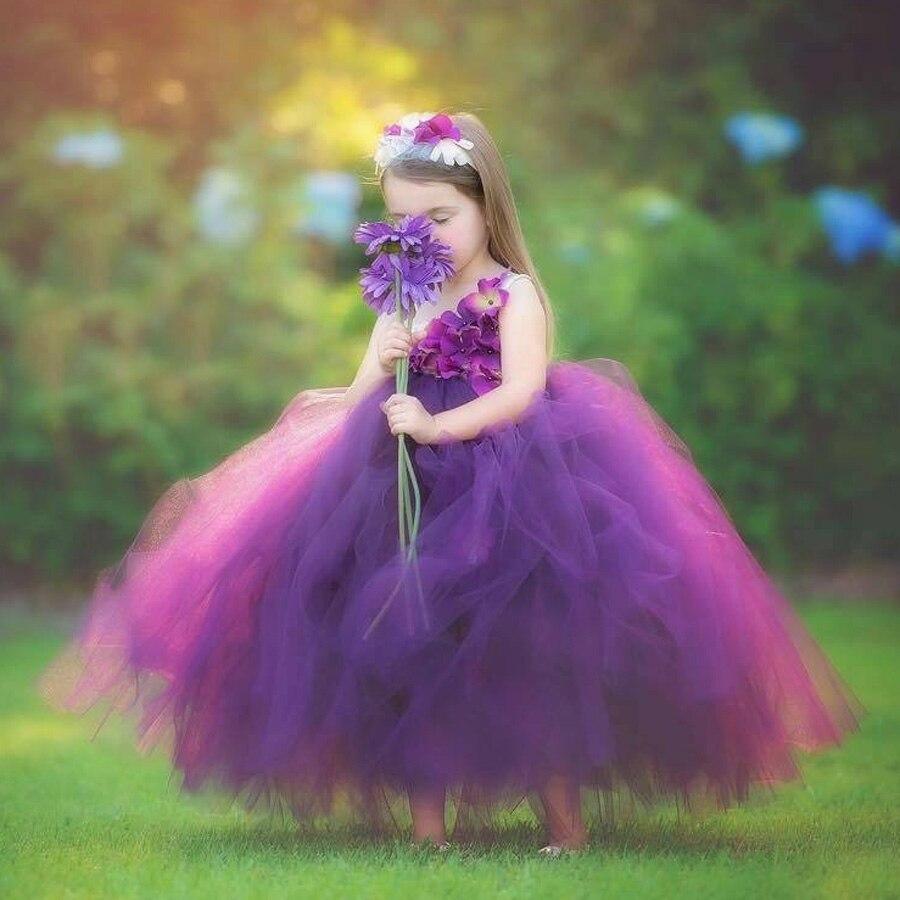 Girls Plum Flowers Wedding Tutu Dress with headband Children Summer Handmade Tulle Costume (10)