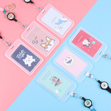 1pc Cartoon Retractable Pull Badge Card Holder with Rope Nurse Doctor Exhibition Key ID Name Card Badge Holder Kawaii Stationery