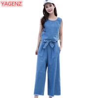 YAGENZ Denim Two Pieces Set Womens 2018 New Spring and summer Clothes 2 Pieces Set Vest Tops and Nine points Wide leg pants 422