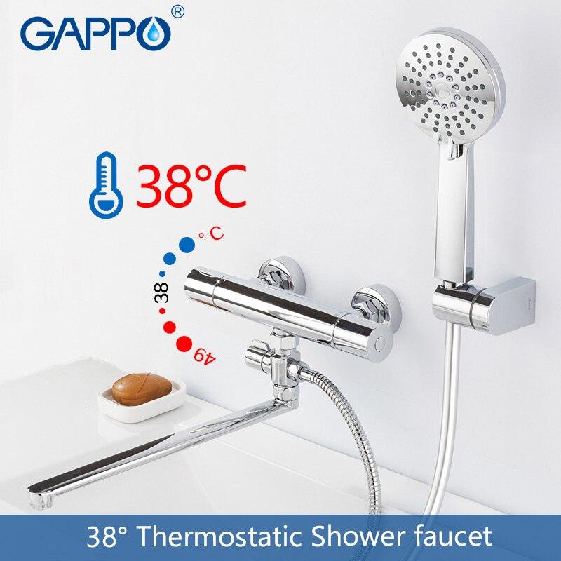 GAPPO doccia rubinetto del bagno miscelatore termostatico vasca da bagno rubinetto miscelatore doccia rotonda Accessori tubo di acqua di 1.5 m doccia a pioggia testa SPA
