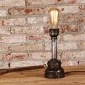 Enferrujado Ferro Tubulação De Água Loft Edison Lâmpada de Mesa Do Vintage Iluminação Bar Artesanal Café Sala de Leitura Luz Da Tabela