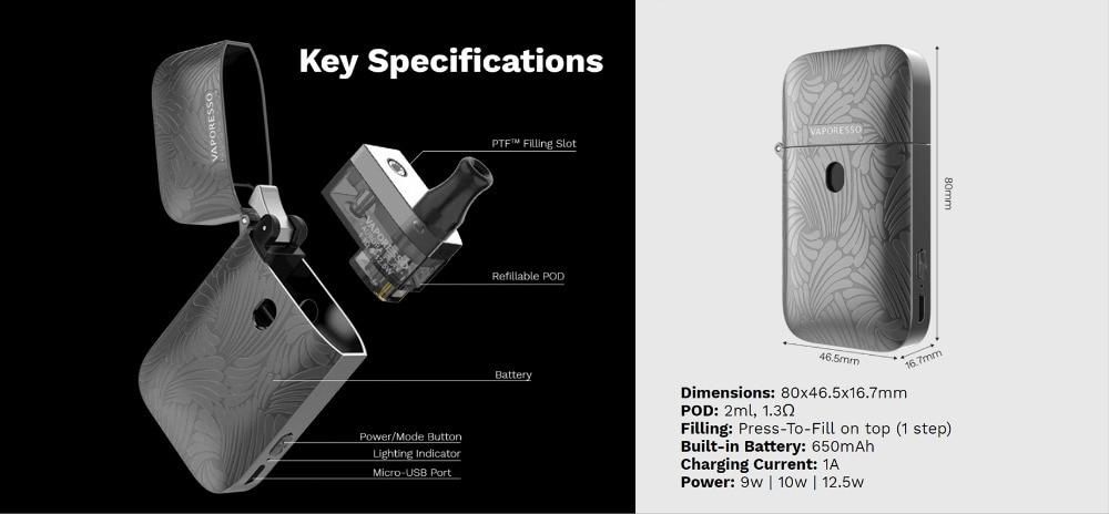 , New Original Vaporesso Aurora Play Starter Kit 650mAh Electronic Cigarette Battery with 2ml Pod Zippo Cigarette AIO EGO Vape Kit