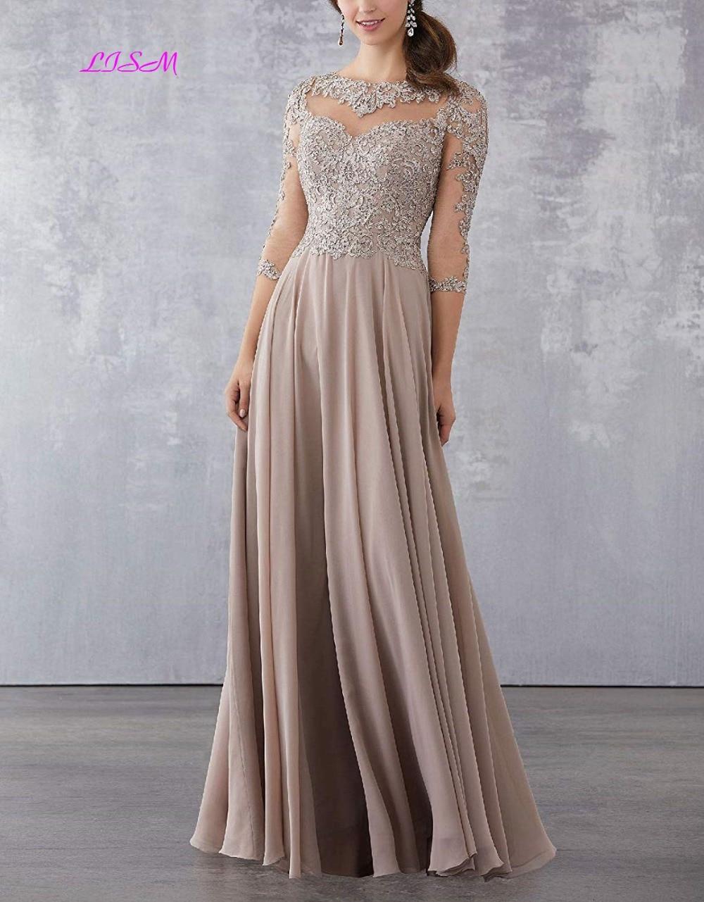 Lace Applique Beaded Mother of the Bride Dresses Elegant Three Quarter Sleeve Long Chiffon Evening Formal Maxi Dress