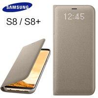 Samsung Galaxy S8 S8 Artı Kılıf Akıllı pencereler Telefon Braketi LED S 8 için Kapak Lüks kapak Deri G9500 G9508 Orijinal Kabuk
