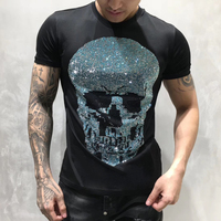PP Bag Packaging!Mens Designer T Shirt Men Short Sleeves Tshirt Men Cotton Top Tees Summer Rhinestone Multicolor Skull T Shirts