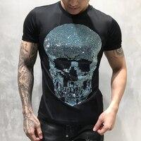 PP Bag Packaging!Mens Designer T Shirt Men Short Sleeves Tshirt Men Cotton Top Tees Summer Rhinestone Multicolor Skull T Shirts