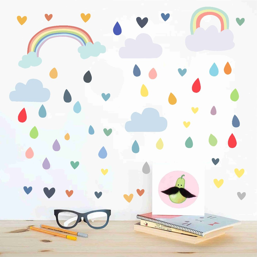 Us 7 91 28 Off Decals Kids Nursery Bedroom Vinyl Wall Sticker Modern Home Decor Removable Wallpaper Art Mural Colorful Drops Rainbow Cloud In