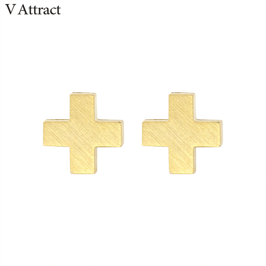 V Attract Simple Stainless Steel Pendientes Hombre Allergy Vintage Punk Tiny Cross Stud Earrings 2018 Women Men Jewelry