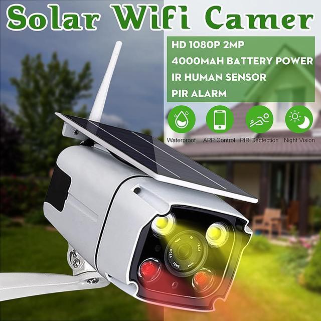 1080p Solar Powered Ip Camera Wifi Camera Wifi Waterproof Outdoor Camera IR Night Vision Solar Power HD Cam Security Camera