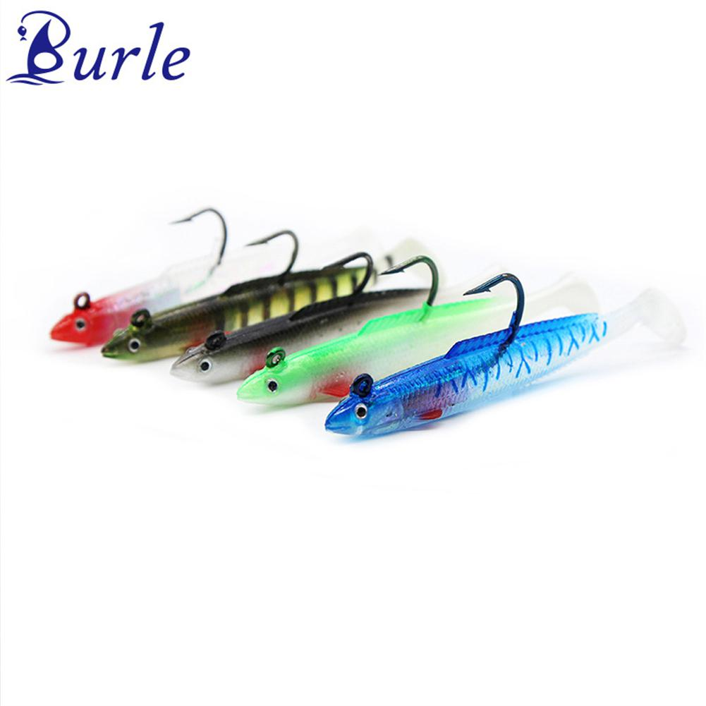 Burle Fishing lur 5pcs/lot Lead Jig Head Softbait Lure Bait Bass T-Tail Shad Type 10cm/10g 15cm/30g