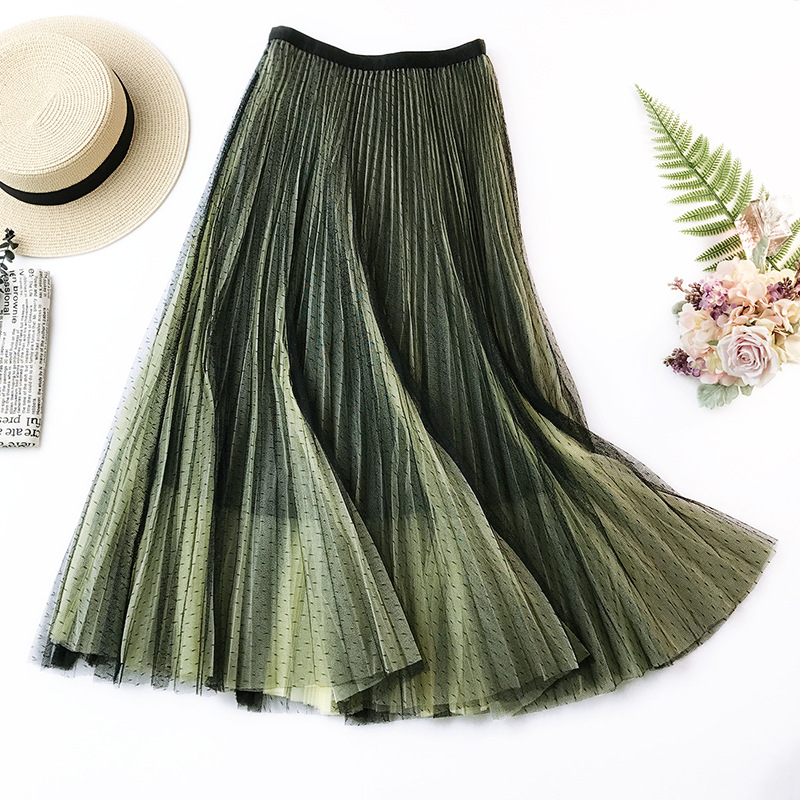 Bottoms Women's Clothing Pleated Skirt A Word Skirt Gradient Color Mesh Skirt Summer Skirt In The Long Section Was Thin And Large Swing Skirt