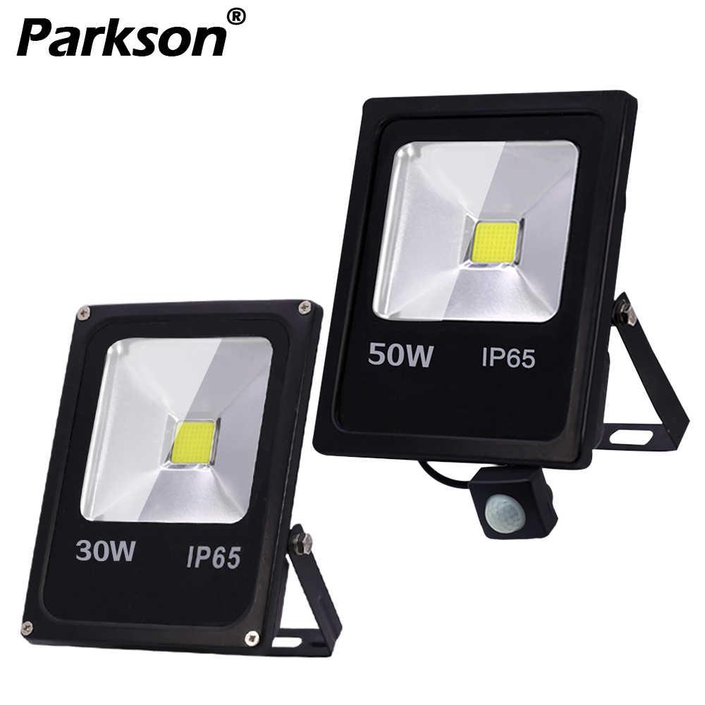 LED Flood Light Spotlight กลางแจ้ง Motion Sensor Floodlight 10W 30W 50W หลอดไฟสะท้อนแสง IP65 สวนกันน้ำ 220V