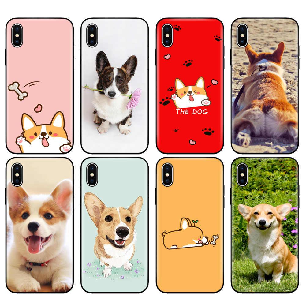 Фото Черный чехол ТПУ для iphone 5 5s se 6 6s 7 плюс 8x10 силиконовый XR XS MAX собака корги детские