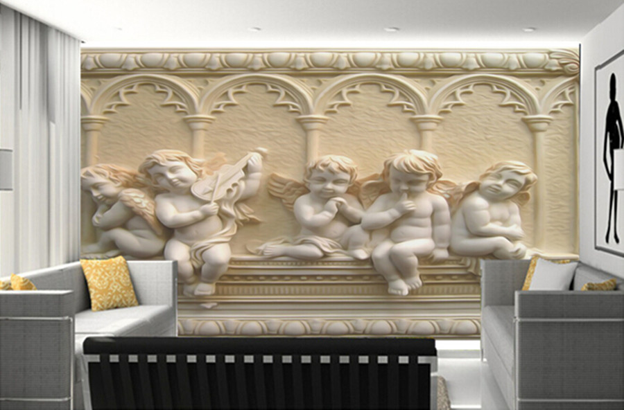 Последние 3D обои, 3D пять милых маленьких ангелочек нефритовые обои papel де parede, ТВ стены гостиной диван стены спальни обои
