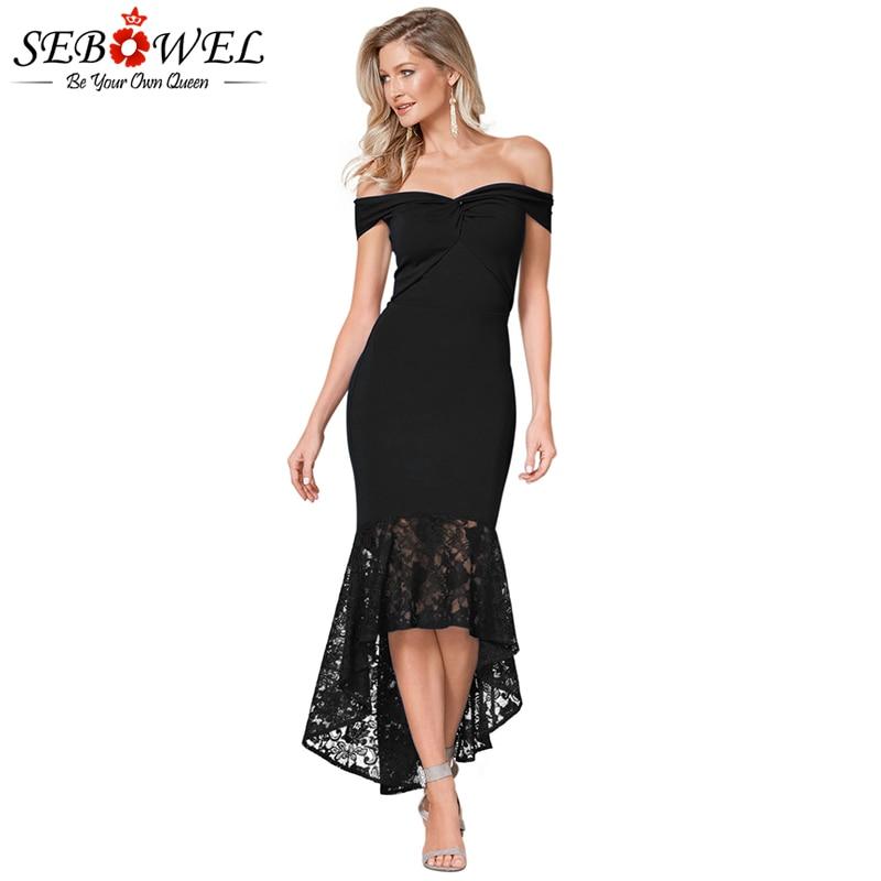 SEBOWEL Sexy Lace Off Shoulder Bodycon Party Dress Women Elegant Black Twist Mermaid Dress Strapless Blue Lace Evening Gown 2019