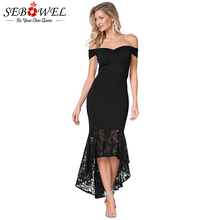 SEBOWEL Sexy Lace Off Shoulder Bodycon Party Dress Women Elegant Black Twist Mermaid Strapless Blue Evening Gown 2019
