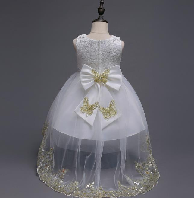 white Embroidery Flower Girl Dress Kids Big Bow Sequin Clothes for Wedding Party Long Tail Summer Princess Evening Prom Dresses