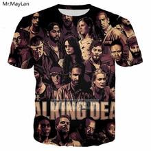 цена на Horror TV The Walking Dead RicK 3D Print T shirt Men/women Punk Streetwear T-shirt Boy Vintage Loose Tshirt Men Clothes Big size