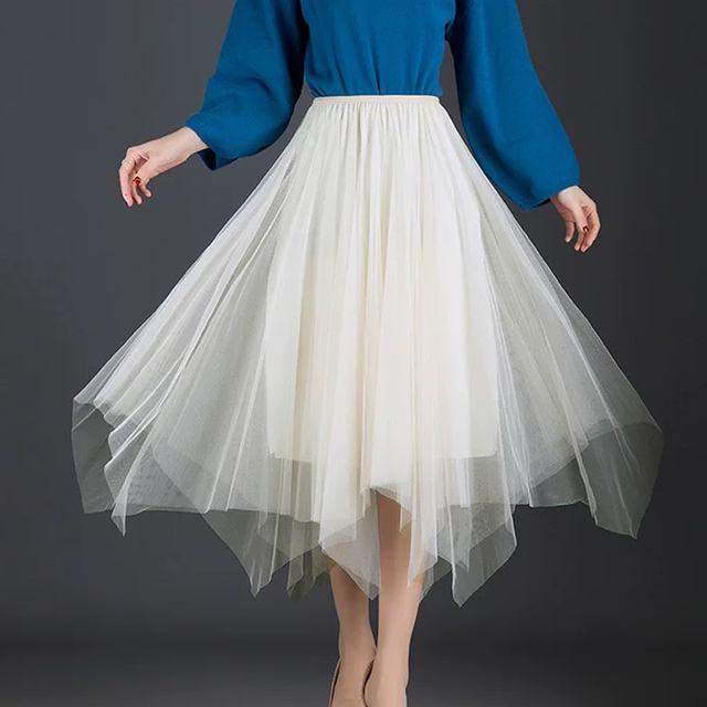 2019 Summer Fall  Winter Vintage Skirts Elastic High Waist Tulle Mesh Skirt Long Pleated Tutu women fashion maxi skirts