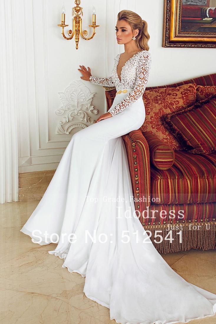2015 Hight Quality Long Sleeve V Neck Trumpet Mermaid Wedding