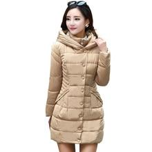 2016 Female waist big yards Warm Winter Jacket Women Coat Thin Parka Down Jacket long section Slim zipper Outwear padded