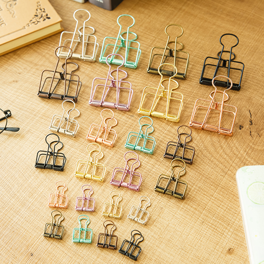 3 Types Paper Clips Hollow Binder Clips Stainless Steel Document Files Holder Notes Letter Notebook Clips DIY Bookmarks Supplies