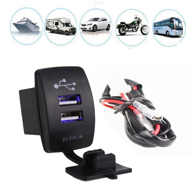 12-24V Universial Car Power Adapter 3.1A 5V Car Dual USB Socket Output LED Light for Motorbike Boat Caravans For Phone