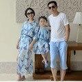 2016 Семья установлены Отцовство курорт Отпуск Праздник пляж платье шифон юбка цветочные принты шифон Женский женщина платья