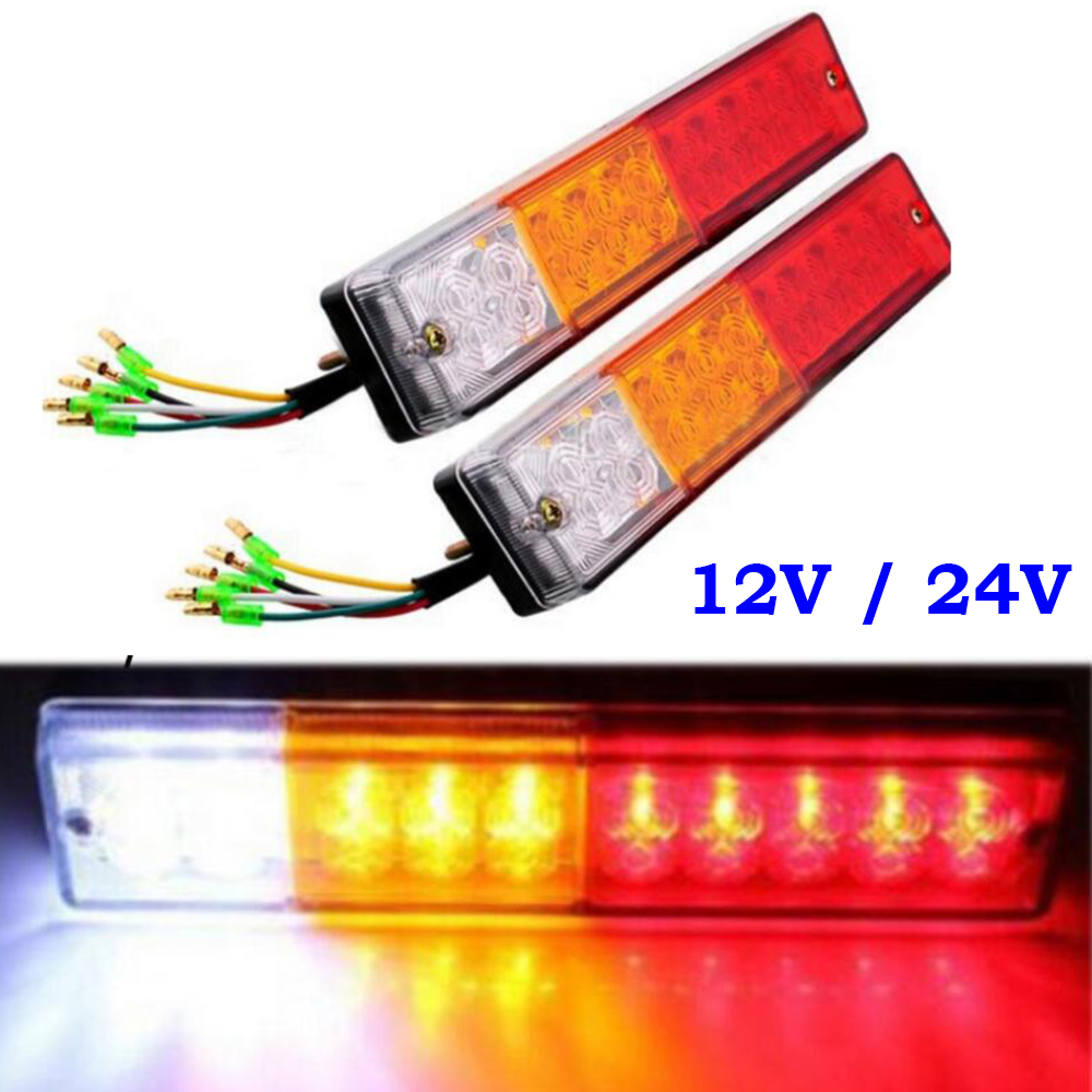 1 pair ATV Truck Trailer Lamp 20 LED Stop Rear Turn Indiactor Tail Brake Reverse Light Fit for Utes Boat 12V 24V 2pcs 20 led car truck red amber white led trailer waterproof tail lights turn signal brake light stop rear lamp dc 12v cy798 cn