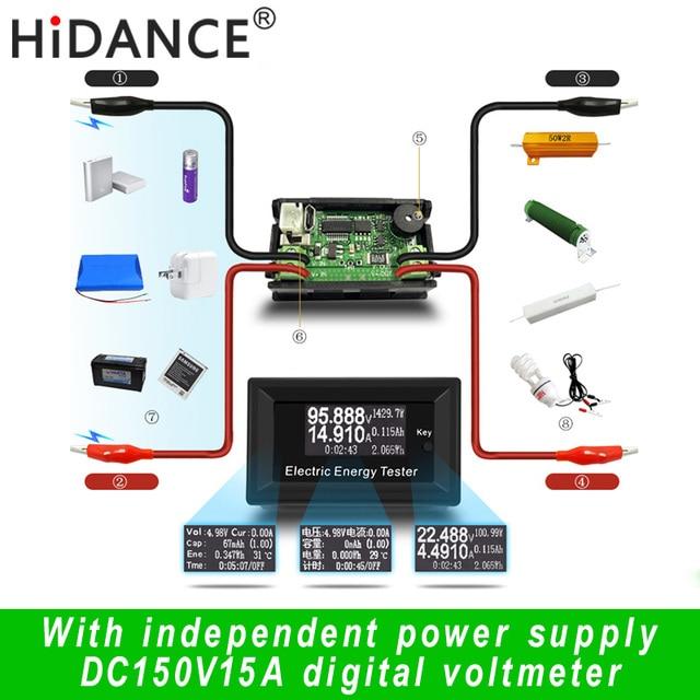 100 В 15A цифровой вольтметр постоянного тока Измерители напряжения ЖК-дисплей энергии тестер Зарядное устройство Амперметр батареи питания емкость обнаружения