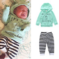 Free Shipping Infant Children Clothing Sets Green Bottle Hooded Tops + Striped Pants for Newborns Babies Boys Clothes