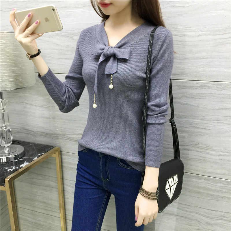 Elegant V neck Sweater Women Tops 2018 Autumn Long sleeve Bow Female Pullover Knitted Sweaters Korean Black White Pull femme