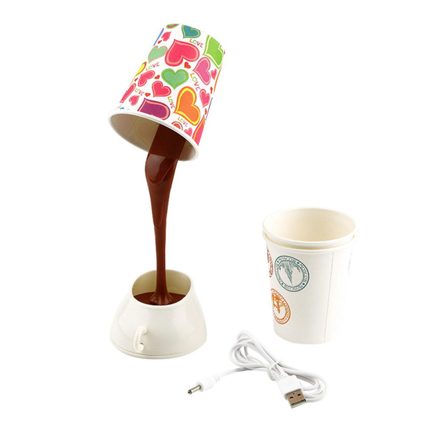 Wonderful Home Creative DIY Coffee Cup LED Down Night Lamp Home USB Battery Pouring  Coffee Table Light