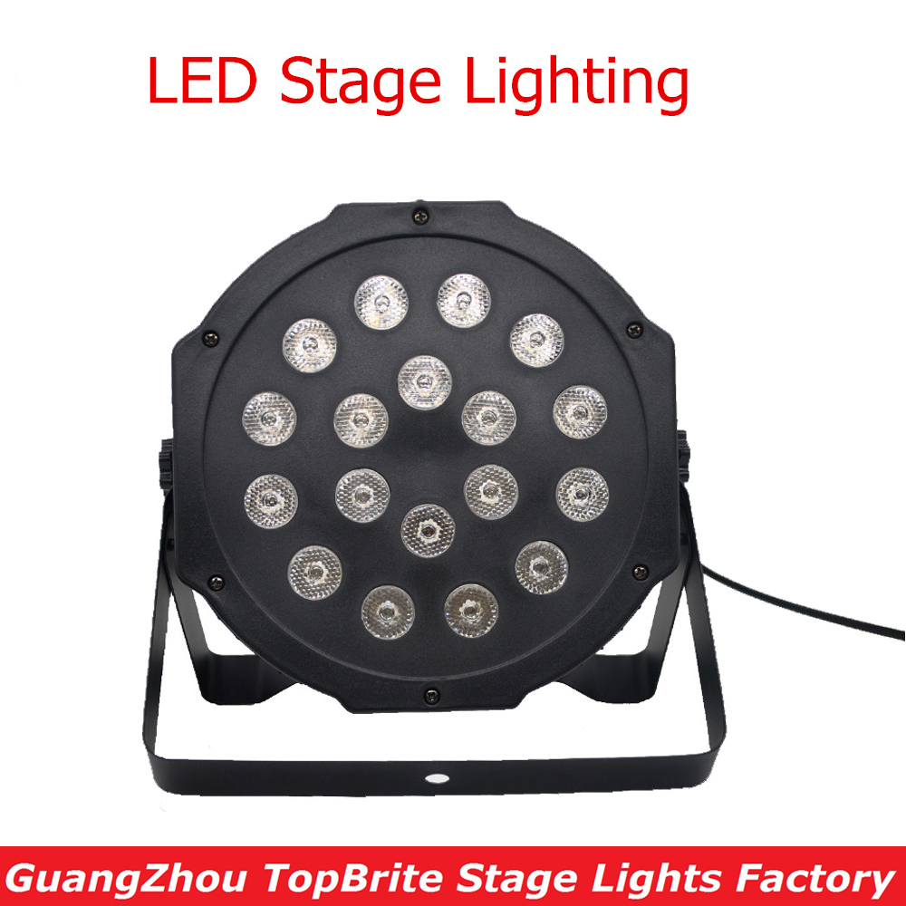 NEW 18*3W Led Stage Light High Power RGB LED Flat Par Light With DMX512 DJ Disco Strobe Lights For Christmas Laser Projector