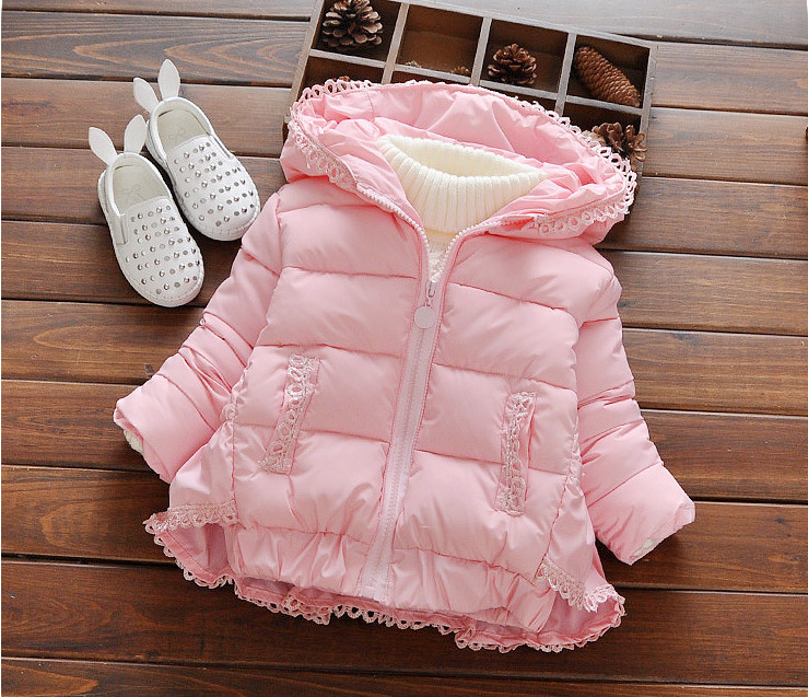 Fashion Girls winter clothing Baby Girl Lace thickening hooded jackets outerwear Children Warmer cotton padded Coats